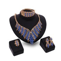 Wholesale Women Trendy Hollow out Big African Blue Necklaces Set Turkish Wedding Party Jewelry Sets Parure Bijoux Femme N689