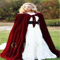 Wholesale 2017 Winter Bridal Cape Faux Fur Christmas Cloaks Jackets Hooded For Winter Wedding Bridal Wraps For Wedding Dresses Sweep Train