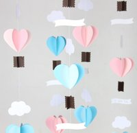 banner light curtain - Pastel Pink Blue Heart Garland With Banner d paper crafts Wedding curtain