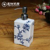 Wholesale Chinese Ceramic hand soap dispenser Flower and birds pattern hotel Amenity hand sanitizer bottle Bathroom Lotion Dispensers