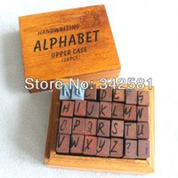 Wholesale set Wooden Rubber Letter Number Creative Alphabet Vintage Stamp Craft wood Upper Case set