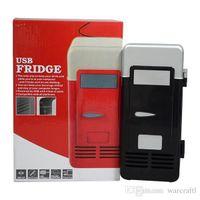 beer fridge cooler - 2016 Cheap MINI Portable USB PC Fridge Car Refrigerator Heater Beer Juice Warmer Cooler with LED Indicator In Stock