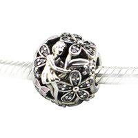 Wholesale Fit for Pandora Bracelets Bangles Authentic Sterling Silver Bead Charm Dazzling Daisy Fairy Beads