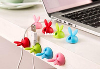 Wholesale Fashion Hot pack Rabbit Cable Drop Clip Desk Tidy Organiser Wire Cord Lead Holder