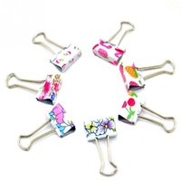 Wholesale Lovely Cute Printing Style Clamp Metal Binder Clips Paper Clips Clamps Box