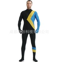 Wholesale new high quality Large size Men s Zentai Unitard Dancewear HoodlessUnisexSkin Tight Jamaican Bobsled Team Cool Runnings Costume