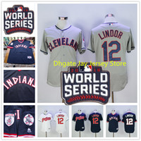 Wholesale 2016 World Series Patch Francisco Lindor Jersey Cleveland Indians Jerseys Blue Pullover White Grey Flexbase