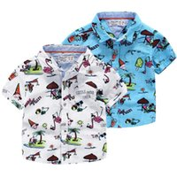 Best for 0- 2T baby beach carton - Cool Brand exported Boys short sleeve cartoon shirt Carton beach print Tops Ramie cotton summer shirts Quality Kids children clothes