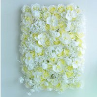 artificial lawn supplies - 5PCS Flower Wall Artificial Rose White Yellow Silk Flower Beautiful Wedding Background Lawn Pillar Road Lead Home Decoration F