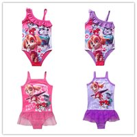 Wholesale 2016 New Paw Patrol Swimsuit Tutu Kids Girl Swimwear Pink Purple Cartoon Swim Wear for Girls Children Clothes Swim Suit Summer Style