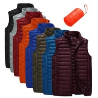 Wholesale Unlo Brand new winter down vest men stand collar ultralight sleeveless jacket waistcoat white duck down