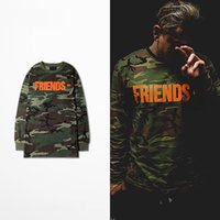 Wholesale 2016streetwear hip hop clothing kpop mens long sleeve tshirts military camo camouflage graphic tees t shirt vlone off white