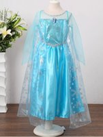Retail New Hot Frozen Elsa Robes Anna Summer Girl robes de princesse robe bleue de manteau Marque Filles Enfants enfants Vêtements