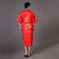 Wholesale Plus Size XXXL Red Men Dragon Robe Chinese Male Silk Satin Nightwear Bathrobe Traditional Embroidery Kimono Yukata Gown MR007