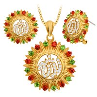 alpha copper - Special Design Alpha Sunflower Colorful Crystal Necklace Earrings Jewelry Set for Women Gift S20157