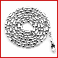 Wholesale Chain Necklace Stainless Steel Ball Beads Bamboo Bead Chain Men Women Chains Necklace Jewelry Finding Components