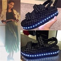 beijing leather shoes - waterproof led sandals new fashion sandals light shoes sandals female thick bottom muffin baby LED light shoes Beijing Womens Size