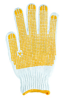Wholesale 7 gauges bleached T C string knitted gloves with yellow PVC dots palm pairts Bag price for one bag gloves