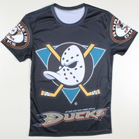 Cheap Wholesale-2016 Casual Black Hocky Mens Anaheim Ducks T Shirt Short Sleeve O-Neck 3D Funny Tshirts Graphic Tee Tops Camisetas Hombre S-4XL