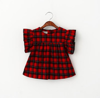 Wholesale 2016 Summer Classic Baby Girls Plaid Tops Dress Fly Sleeve Kids Cotton Top Tee Blouse Children Cute Clothing Black Red