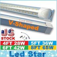 Wholesale V Shaped ft ft ft ft Cooler Door Led Tubes T8 Integrated Led Tubes Double Sides SMD2835 Led Fluorescent Lights V Stock In US