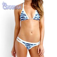 bathing services - Brazilian Sexy Bikini High Neck Swimsuit Micro Strappy Biquinis Striped Bandage Bathing Suits Good Service Swimwear For Women