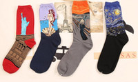angels oils paintings - 80pairs Men s cotton socks creative celebrity oil painting Monalisa Angel The Scream Liberty goddess goddess waves Washington starry night