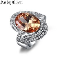amber stone ring - Amber Stone Silver Filled Trendy Wedding Rings for Women Crystal Jewelry Bijoux Femme Engagement Bague Accessories ASR240