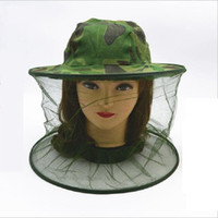 Wholesale Thin camouflage Outdoor Foldable portable mesh fishing caps hats anti mosquito sunshade