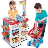 Wholesale Large Children s shopping toys supermarket playset supermarket booth shopping cart cash register
