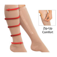 Wholesale Zip Sox Zip Up Zipper Compression Socks Ultrathin Breathable Open Toe Leg Slimming Shaper Socks pair