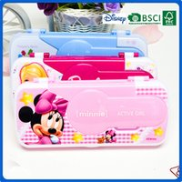 plastic pencil box - 2016 new hot Low price nice plastic pencil box for school office and retail mickey cartoon Christmas gift