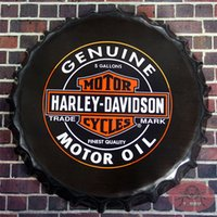 antique round wall plaque - Genuine Motor Oil Motorcycle signs Round tin signs Beer Bottle Cap Rustic Wall Plaque Garage Bar Diner Man Cave cm RM