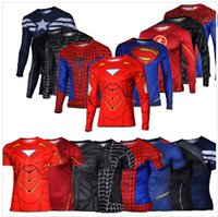 armour hero - Marvel Super Heroes Avenger Batman sport T shirt Men Compression Armour Base Layer Long Sleeve Thermal Under Top Fitness