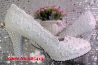 Cheap Lace flower wedding shoes high-heeled platform white pearl crystal bow bridal shoes bridesmaid shoes