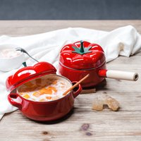 Wholesale Red Soup pots Tomato enamel pot Single handle two ears pot Kitchen tools dinnerware
