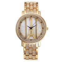 al por mayor reloj de la torre eiffel para las mujeres-Torre Eiffel de las mujeres del reloj del cuarzo de la vendimia de lujo cristal de la manera Stainlness acero analógico reloj de pulsera de señoras Ipg Montre Femme regalo