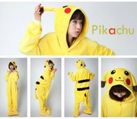 Wholesale New FashionYellow Pikachu Unisex Adult Gril Flannel Pyjamas Animal Onesie Kigurumi PaJamas cosplay Onesie