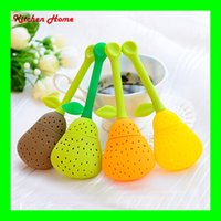 Wholesale Creatice Pear Design Tea Filter Kitchen Tea Ball Bags Silicone Tea Infuser Herb Spices Leaf Strainer Bag Silicone Rubber Tea Tools