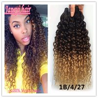 hair dye color - 6a Peruvian Ombre Curly Hair Wave Bundle Ombre Hair Extensions Three Tone Peruvian Deep Curly ombre human hair Weaves