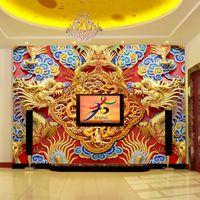 art woodcuts - Golden Dragon Photo Wallpaper Luxury D Wallpaper Woodcut Wall Mural Bedroom Living room Hotel TV Backdrop wallpaper Chinese Art Room Decor