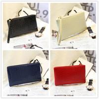 Wholesale Women Long Wallet Zipper Bags Fashion Purse Party Clutch Phone Bag PU Leather Lady Tote Cosmetic Envelope Handbag Christmas Gift Colors