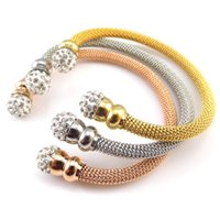 Wholesale 2016New Fashion Jewelry Rhinestone Ball Bracelets Bangles For Women Stainless Steel Gold Rose Gold Steel Bangles Shambhala jewelry