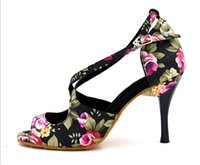 Wholesale 2016 famous Brand Women s Latin dance shoes Black white Baroom dancing shoes Salsa Party Square dance shoes high High heels Plus size delive