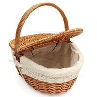 willow basket - Picnic Basket Willow Wicker Shopping Hamper with Lid and Handle Handmade Rattan Storage Steamed Cassette Cover
