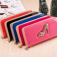 artificial leather wallet - Artificial diamond high heels pattern mobile phone bag suitable for various brands of mobile phones such as iPhone Samsung Huawei