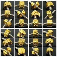 base metal jewelry beads - 50pcs mixed Copper Base Gold Plated Stopper Clip Charms for Jewelry Making DIY Beads for European Bracelet in Bulk Low Price
