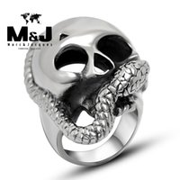 african masks sale - Punk Snake mask sale titanium stainless steel ring vintage fashion cool men jewelry STR2