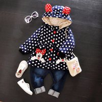 Wholesale cute cartoon dot winter parka baby coat girls clothes hooded cotton padded jackets thicken snow wear M T