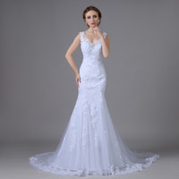Wholesale Sexy Mermaid Lace Wedding Dresses With Straps Plus Sizes Organza Robe De Mariage Princesse New Arrival Real Photo